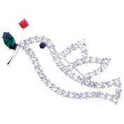 Crystal Dove With Red Rose Bird Pin Brooch