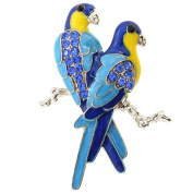 Sapphire Blue Couple Parrot Bird Crystal Pin Brooch