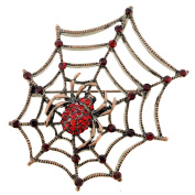 Vintage Style Red Spider Crystal Pin Brooch and Pendant
