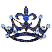 Vintage Style Blue Fleur-De-Lis Crown Crystal Brooch Pin