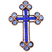 Vintage Style Blue Cross Sapphire Crystal Pin Brooch And Pendant