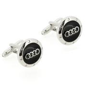 Black and Silver Audi Logo Automotive Car Cufflinks