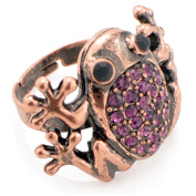 Adjustable Vintage Style Amethyst Frog Purple Animal Ring