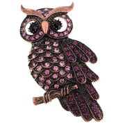 Vintage Style Amethyst Purple Owl Bird Crystal Pin Brooch