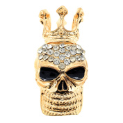 Golden Skull With Crown Crystal Pin Brooch