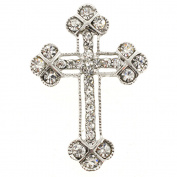 Silver Crystal Cross Brooch and Pendant
