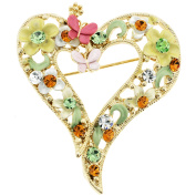 Pink Multicolor Butterfly and Flower Heart . Crystal Pin Brooch