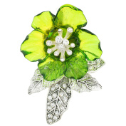 Green Flower Crystal Pin Brooch and Pendant