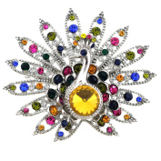 Multicolor Yellow Gem Peacock Pin Brooch