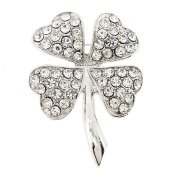 Silver St. Patrick's Day Four Leaf Clover Crystal Pin Brooch