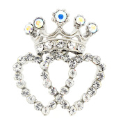 Chrome Double Heart Crown Crystal Lapel Pin