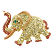 Gold Elephant . Crystal Animal Pin Brooch