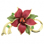 Red Poinsettia Flower Christmas . Crystal Flower Pin Brooch & Pendant