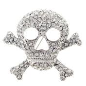 Silver Cross Bones Skull Crystal Pin Brooch