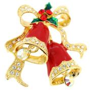 Red Christmas Bells Crystal Pin Brooch