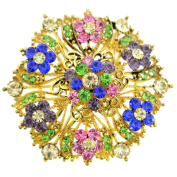 Colorized Crystal Flower Wedding Brooch/Pendant