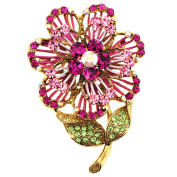 Pink . Crystal Flower Pin Brooch And Pendant