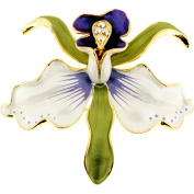 White and Purple Orchid Flower . Crystal pin brooch