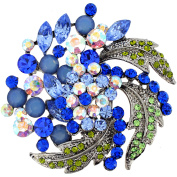 Multi Blue Flower Wedding . Crystal Pin Brooch and Pendant