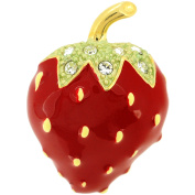 Red Strawberry . Crystal Lapel Pin