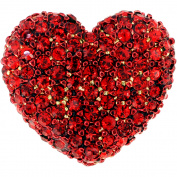 Red Heart Valentines Crystal Lapel Pin