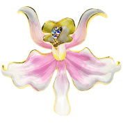 Pink Orchid Flower . Crystal Pin Brooch