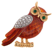 Enamel Brown Owl Crystal Pin Brooch