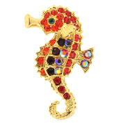 Red Seahorse . Crystal Pin Brooch
