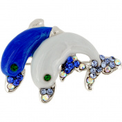 Multi Blue Couple Dolphin Crystal Pin Brooch
