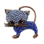 Vintage Style Blue Cat Kitty Sapphire Crystal Pin Brooch