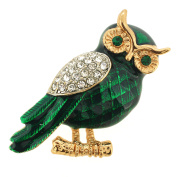 Enamel Green Owl Crystal Pin Brooch