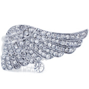 Silver Plated Crystal Angel Wing Stretch Ring