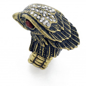 Crystal Eagle Head Vintage Style Brass Stretch Ring