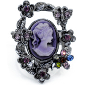 Crystal Vintage Style Adjustable Cameo Ring