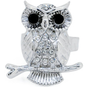 Silver Plated Crystal Owl Adjustable Cameo Ring