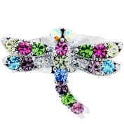 Silver Plated Multicolor Crystal Dragon Fly Adjustable Cameo Ring