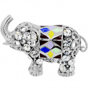 Silver Plated Crystal Elephant Adjustable Cameo Ring