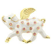 White When Pigs Fly . Crystal Brooch Pin