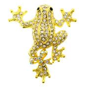 Golden Frog Crystal Pin Brooch