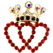 Red Double Heart Crown Crystal Lapel Pin