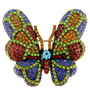Multicolor Crystal Vintage Style Butterfly Pin Brooch