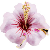 Small Pink Hawaiian Hibiscus . Crystal Flower Pin Brooch and Pendant