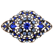 Blue Vintage Style Flower Sapphire Crystal Pin Brooch