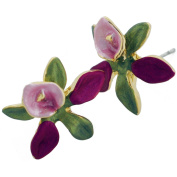 Fuchsia Orchid With Green Leaves Flower Earrings