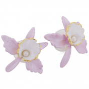 Pink Orchid With Pearl Flower Earrings