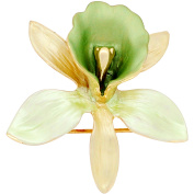 Small Light Green Yellow Orchid Flower Brooch Pin And Pendant