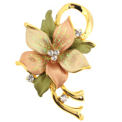 Topaz Poinsettia . Crystal Flower Brooch Pin and Pendant