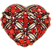 Vintage Style Red Heart Crystal Pin Brooch