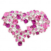 Pink Heart Crystal Pin Brooch