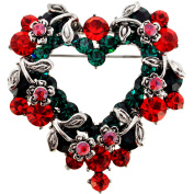 Vintage Style Heart and Flower Wreath Brooch